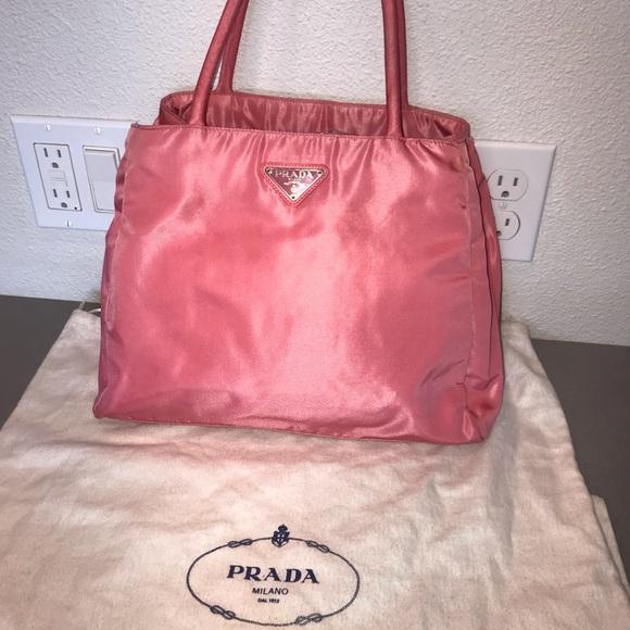 a0848d4a7b5b Authentic prada pink velo nylon tote satchel bag. M_5c5483a4a5d7c63bce1e2541